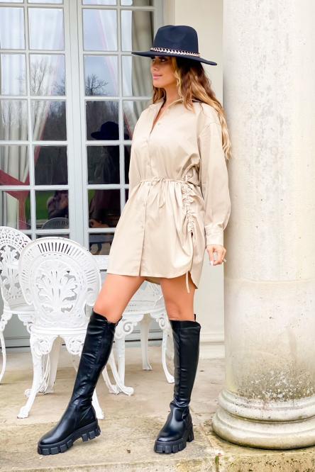 Robe Femme Chemise Laçage Côté Beige / Réf : 8163-2