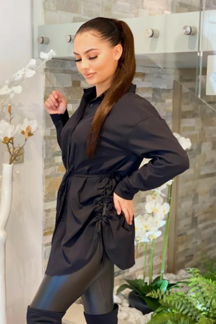Robe Femme Chemise Laçage Côté Noir / Réf : 8163-0