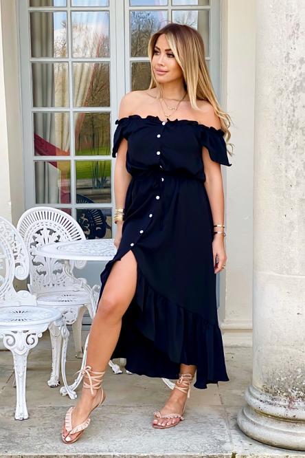 Robe Femme Col Bateau Noir / Réf : 1276-0