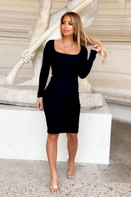Robe Femme Col Carré Noir / Réf : 1011-0