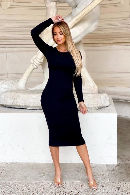 Robe Femme Col Rond Moulante Noir / Réf : 1082-0