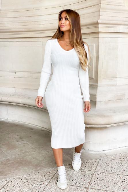 Robe Femme Cotelé Col V Blanc / Réf : 6089-1