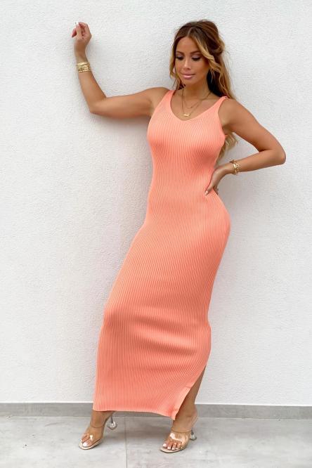 Robe Femme Côtelée Longue Saumon / Réf : 1106-40