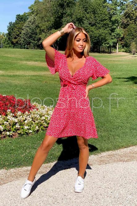 Robe Femme Courte Fleurs Rouge / Réf : 5127-20