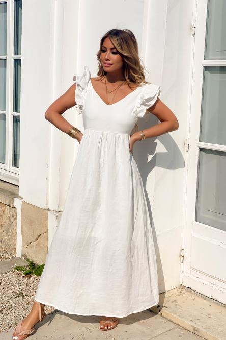 Robe Femme Double V Blanc / Réf : 8563-1