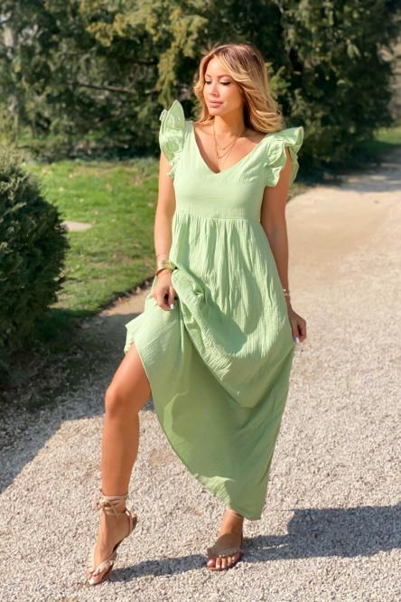 Robe Femme Double V Vert Clair / Réf : 8563-17