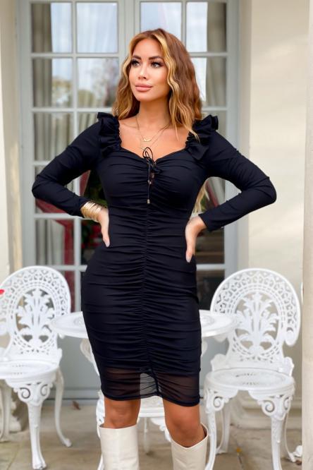 Robe Femme Drapée Laçage Noir  / Réf : 5287