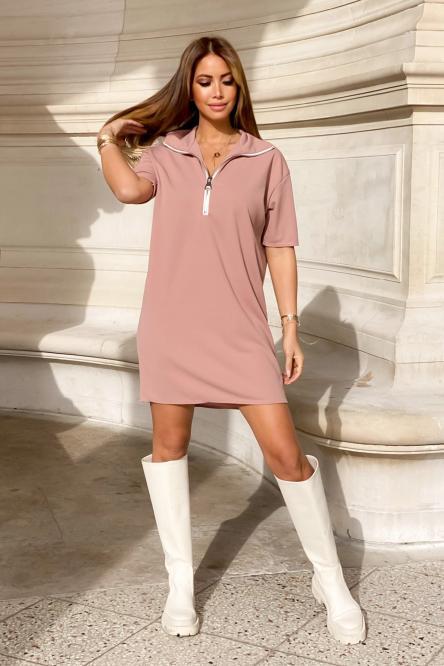 Robe Femme Droite Zippée Terracotta Clair / Réf : 9052-34