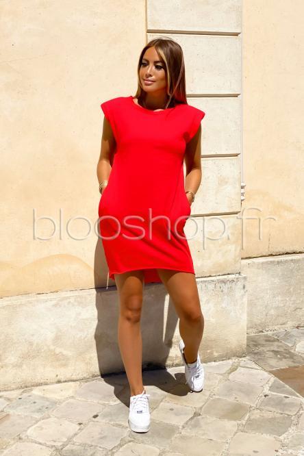 Robe Femme Épaulettes Rouge / Réf : 9938