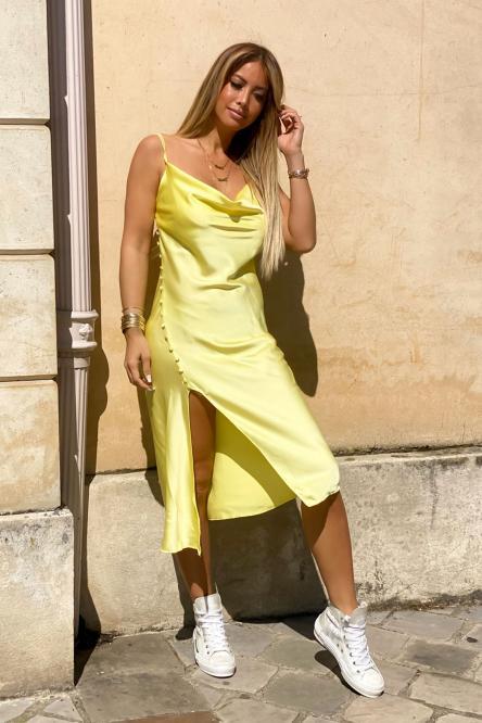 Robe Femme Fendue Satinée Jaune / Réf : 3305-14