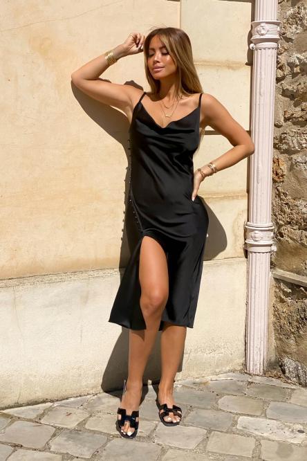 Robe Femme Fendue Satinée Noir / Réf : 3305-0