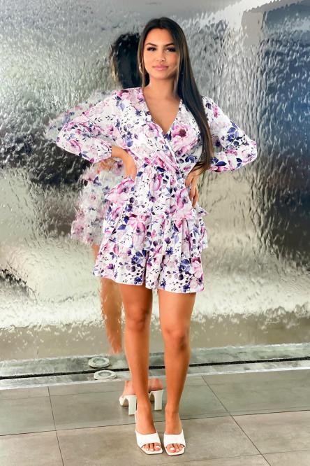 Robe Femme Fleurie à Volants Blanc / Réf : 6968-1