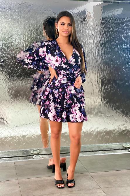 Robe Femme Fleurie à Volants Noir / Réf : 6968-0