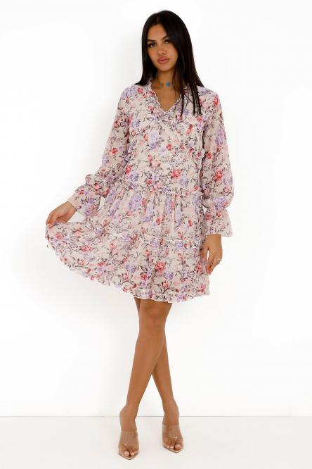 Robe Femme Fleurie Dos Ouvert Beige / Réf : 6855-2