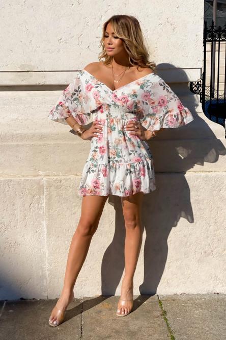 Robe Femme Fleurie Double V Blanc / Réf : 5058-1
