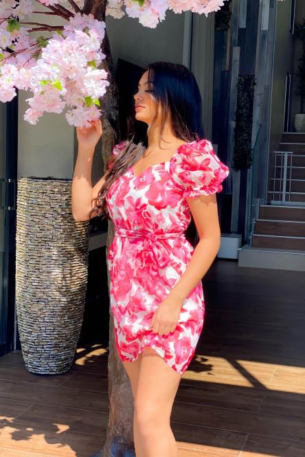 Robe Femme Fleurs Fuchsia / Réf : 5358-25