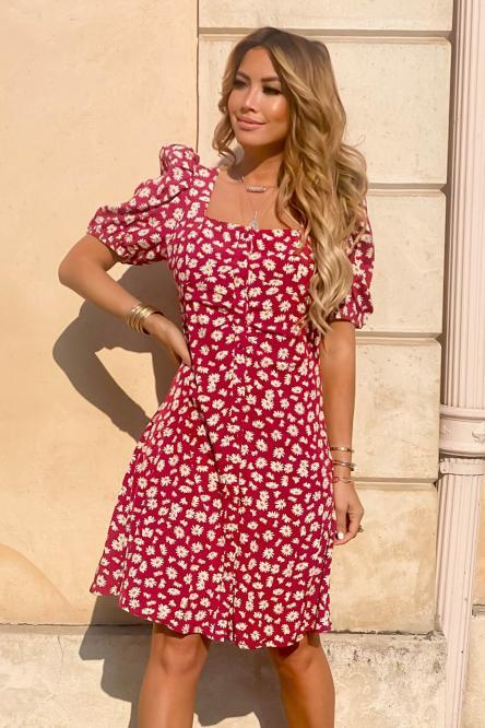 Robe Femme Fleurs Rouge / Réf : 8550-20