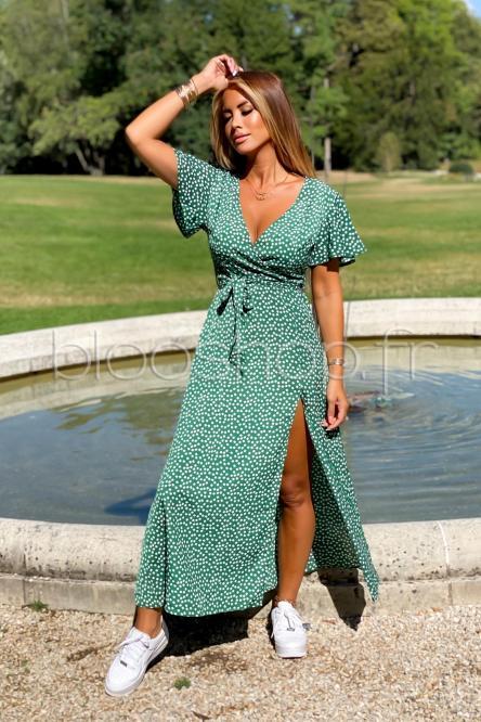 Robe Femme Fleurs Vert / Réf : 5115-18