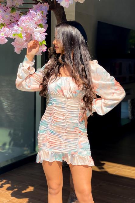 Robe Femme Froncée Fleurie Nude / Réf : 3540-10