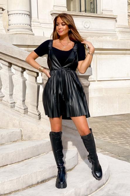 Robe Femme Jupe Salopette Plissée Noir / Réf : 6025-0