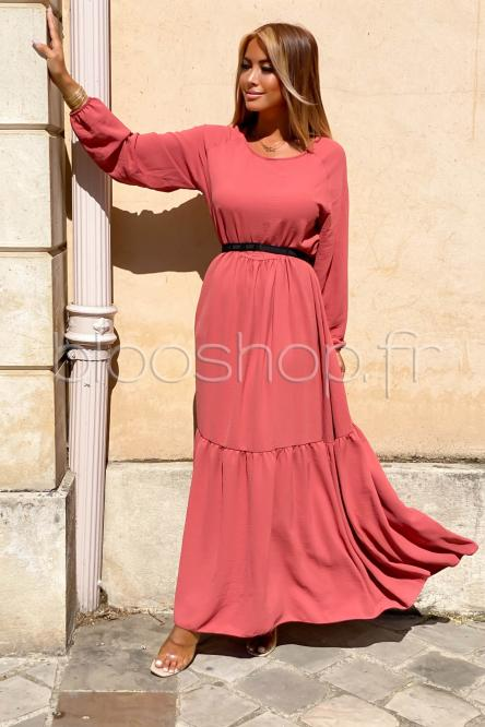 Robe Femme Longue Col Rond Terracotta