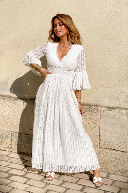 Robe Femme Longue Dentelle Blanc / Réf : 3884-1