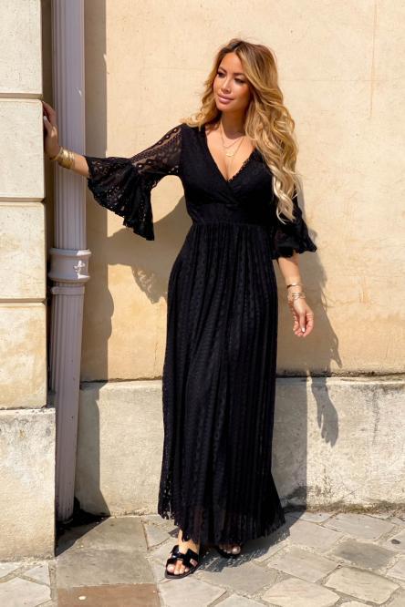 Robe Femme Longue Dentelle Noir / Réf : 3884-0