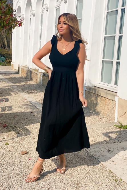 Robe Femme Longue Dos Ouvert Noir / Réf : 8567-0