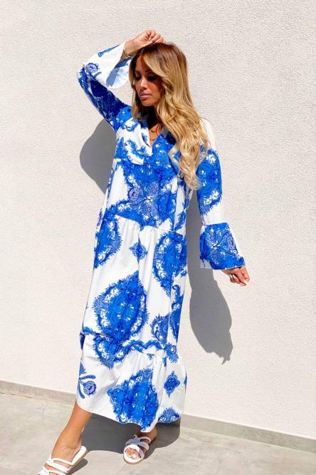 Robe Femme Longue Imprimée Bleu / Réf : 4006-6