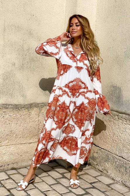 Robe Femme Longue Imprimée Camel / Réf : 4006-8