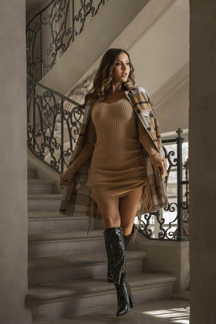 Robe Femme Maille Lacets Camel