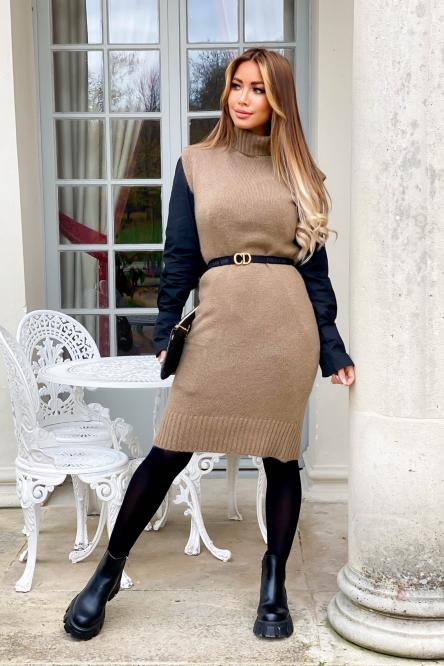 Robe Femme Maille Sans Manches Camel