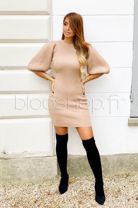 Robe Femme Manches Boules Beige