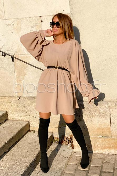 Robe Femme Manches Larges Beige