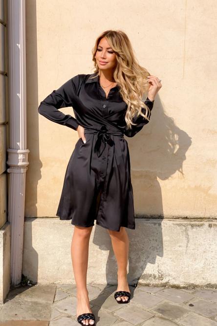 Robe Femme Satin Croisée Noir / Réf : 9148-0