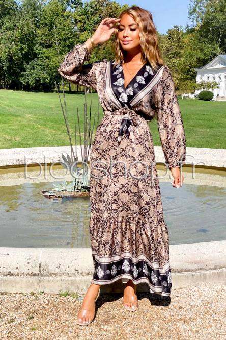 Robe Femme Satinée Longue Noir / Réf : 9061