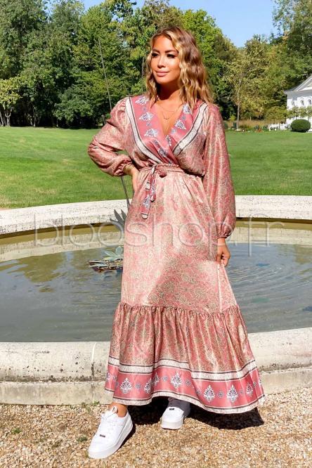 Robe Femme Satinée Longue Terracotta / Réf : 9061