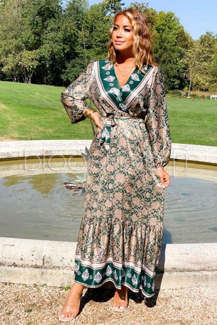 Robe Femme Satinée Longue Vert / Réf : 9061