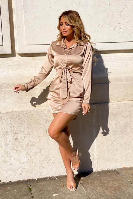 Robe Femme Satinée Nouée Beige / Réf : 9167-2