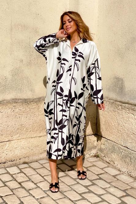 Robe Femme Satinée Végétale Ecru / Réf : 1145-12