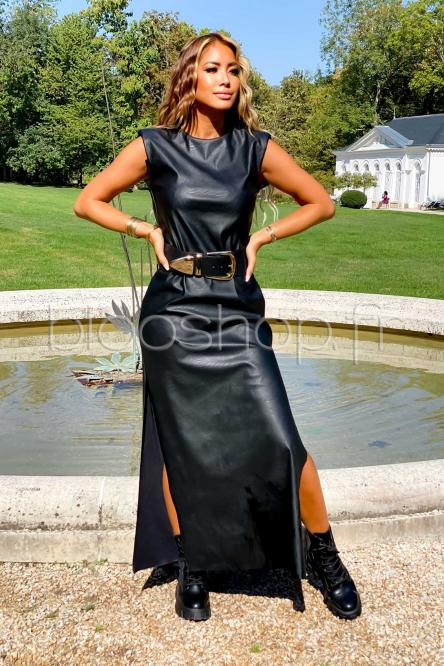 Robe Femme Simili Fendue Noir / Réf : 9511