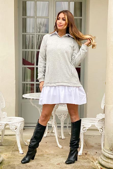 Robe Femme Sweat Chemise Gris