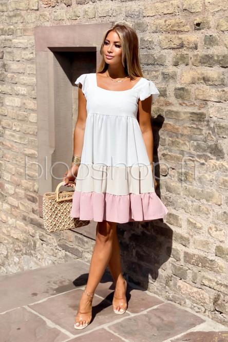 Robe Femme Tricolore Rose