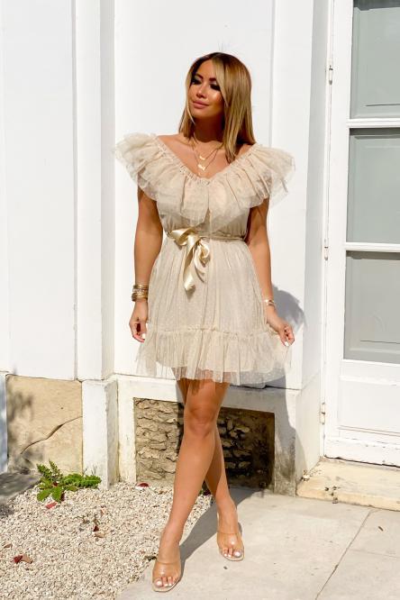 Robe Femme Tulle Beige / Réf : 3928-2