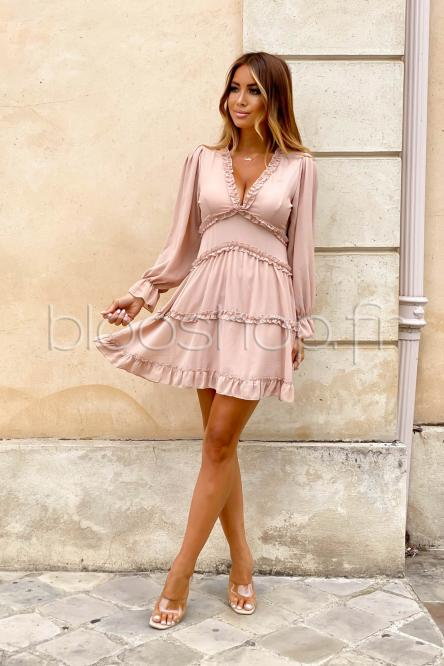 Robe Femme V Froufrou Taupe
