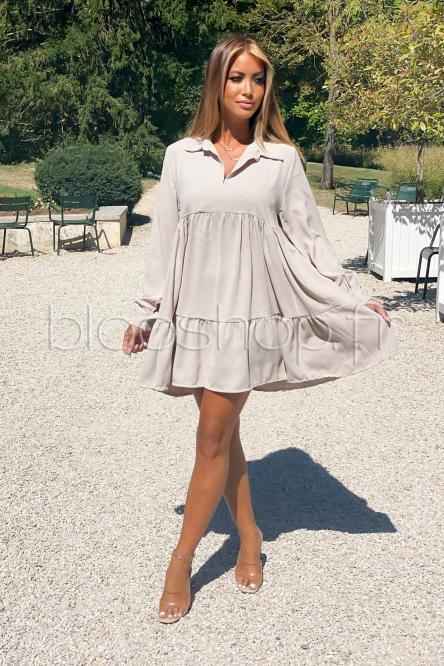 Robe Femme Volants Manches Longues Beige