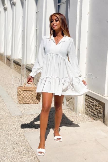 Robe Femme Volants Manches Longues Blanc