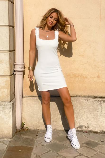 Robe Moulante Femme Froufrou Blanc / Réf : 7336-1