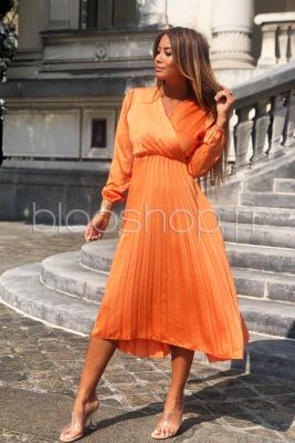 Robe Satin Plissée Femme Orange