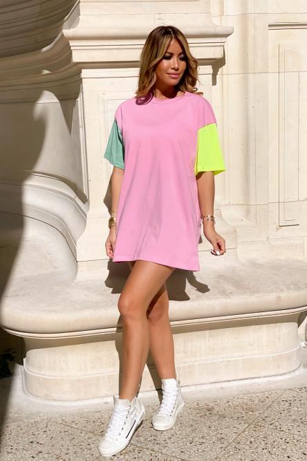 Robe T-Shirt Femme Tricolore Rose / Réf : 7968-9